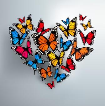 Schöner hintergrund mit valentinstag herzen von schmetterlingen