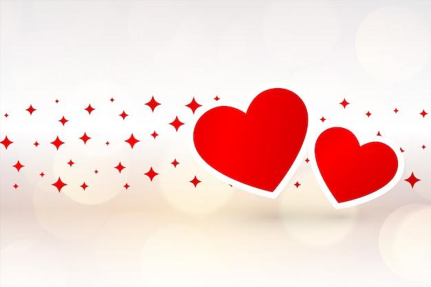 Schöner hintergrund von zwei herzen für valentinstag