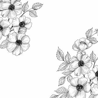 Schöner hochzeitsblumenskizzenhintergrund