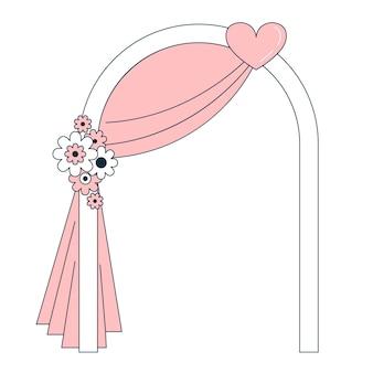 Schöner hochzeitsbogen mit blumen. dekoration für die feier. doodle-vektor-illustration