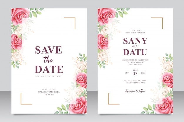 Schöner hochzeitseinladungskartensatz rote rosen und weißes aquarell
