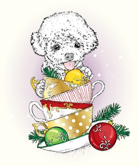 Schöner hund mit weihnachtsbechern