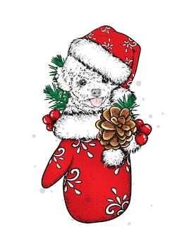 Schöner hund mit weihnachtshandschuh
