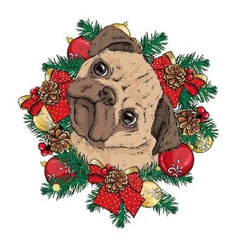 Schöner hund mit weihnachtskranz