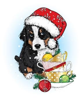 Schöner hund mit weihnachtsmütze und tassen