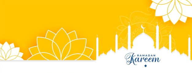 Schöner islamischer bannerentwurf des gelben ramadan kareem gelben blumen