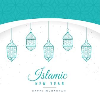 Schöner islamischer hintergrund des neuen jahres mit hängenden laternen