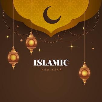 Schöner islamischer neujahrshintergrund mit hängenden laternen