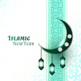 Schöner islamischer neujahrshintergrund mit hängenden mondlaternen