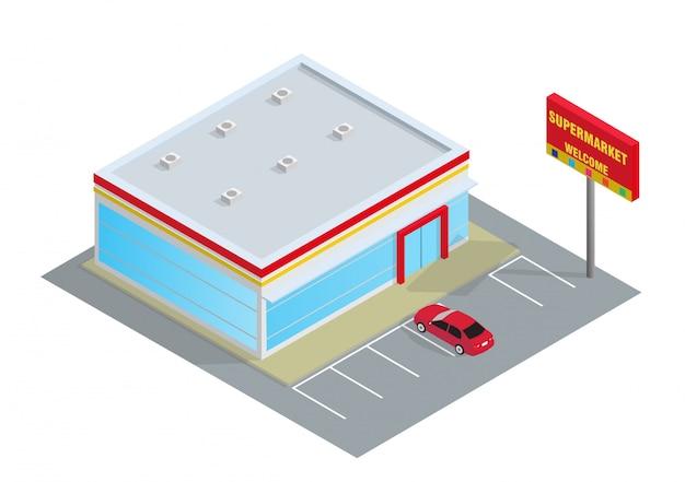 Schöner isometrischer supermarkt