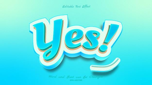 Schöner ja-texteffekt mit blauer lichtfarbe