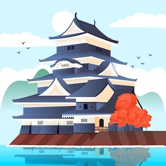 Schöner japanischer tempel, umgeben von wasser