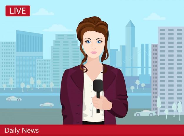 Schöner junger frau fernsehnachrichtenreporter auf der straße.