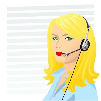 Schöner junger mädchenblonder telefonist in kopfhörern