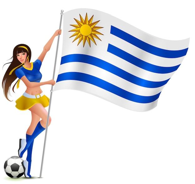 Schöner junger weiblicher fan, der flagge von uruguay hält. cartoon-illustration
