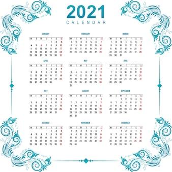 Schöner kalender 2021 für dekoratives blumenmuster