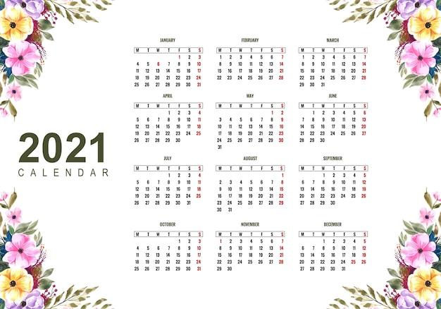 Schöner kalender 2021 mit buntem blumenmuster