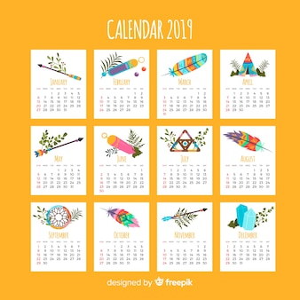 Schöner kalender im indischen stil