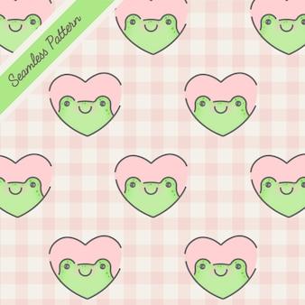 Schöner kawaii frosch in einem nahtlosen muster des rosa herzens premium-vektor