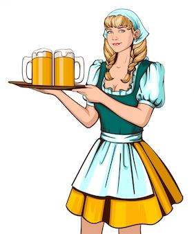 Schöner kellner der jungen frau, der behälter mit bier hält
