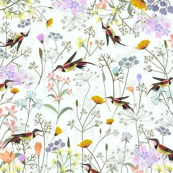 Schöner kolibri im süßen blütengarten.