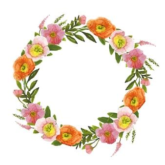 Schöner kranz aus wildblumen