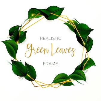 Schöner kranz mit grünen blättern