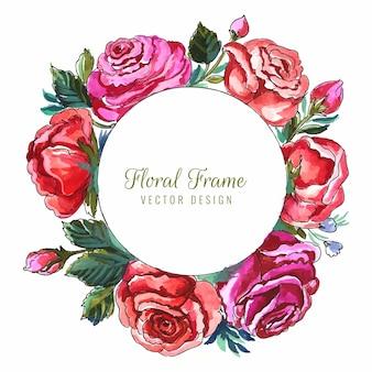 Schöner kreisförmiger rosenblumenrahmenkartenhintergrund