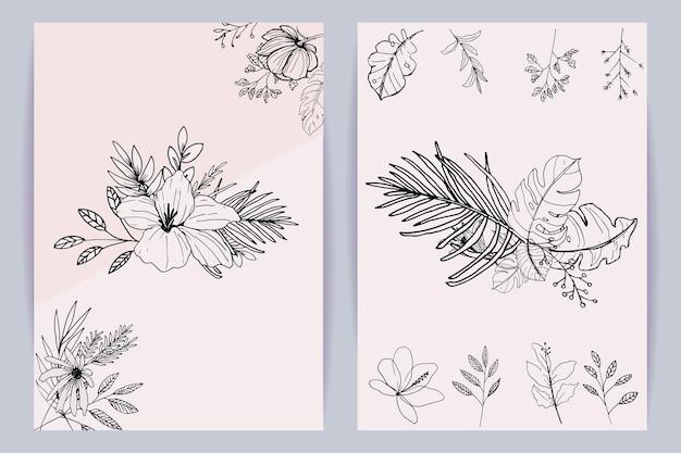 Schöner kunstblumenstrauß aus blumen und blättern vorlagensatz