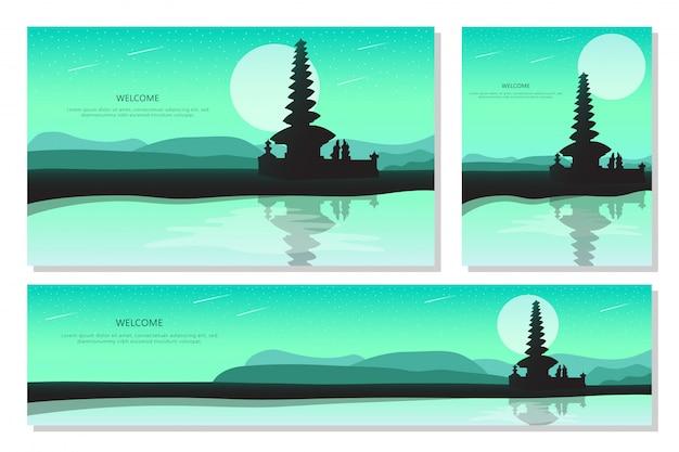 Schöner landschaftssonnenuntergang in bali. grüner abstrakter gradientenhintergrund, flaches design