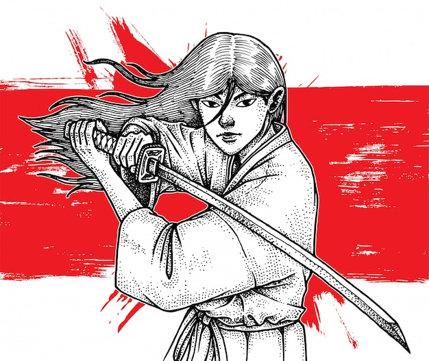 Schöner langhaariger samurai, der katana hält