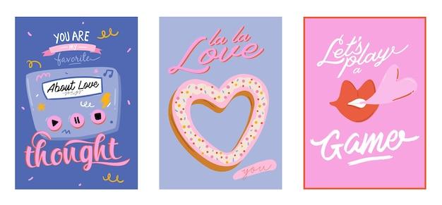 Schöner liebesdruck mit valentinstagelementen. romantische und niedliche elemente und schöne typografie. handgezeichnete illustrationen und schriftzüge. gut für hochzeit, sammelalbum, logo, t-shirt design.