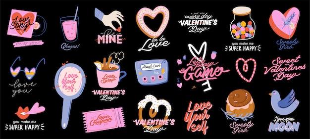 Schöner liebesdruck mit valentinstagelementen. romantische und niedliche elemente und schöne typografie. vektor hand gezeichnete illustrationen und beschriftung. gut für hochzeit, sammelalbum, logo, t-shirt design.