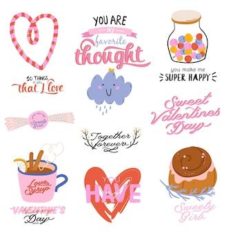 Schöner liebesdruck mit valentinstagelementen