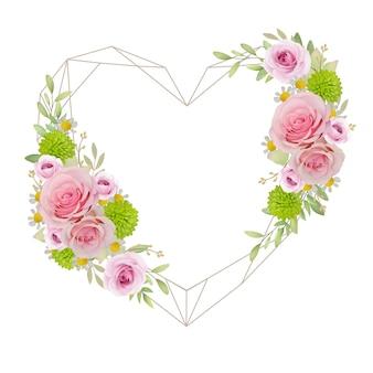 Schöner liebesrahmen mit rosa mit blumenrosen
