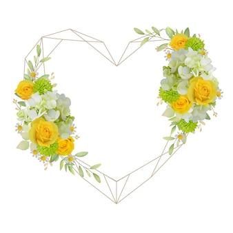 Schöner liebesrahmenhintergrund mit blumenrosen und hortensie