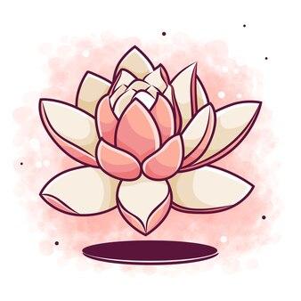 Schöner lotus in der hand gezeichnet