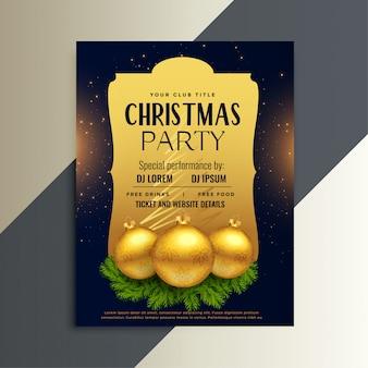 Schöner luxusparteiflyer für weihnachtsfest