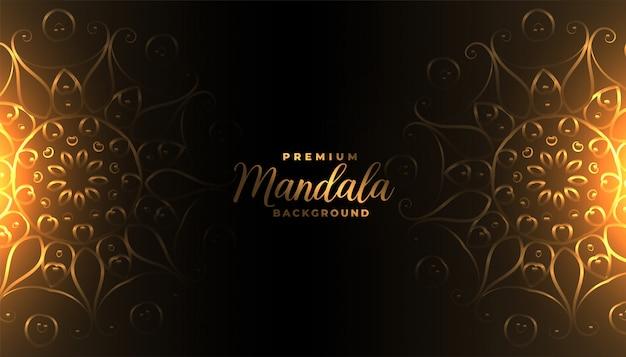 Schöner mandala-hintergrund mit leuchtendem lichtdesign