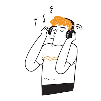 Schöner mann mit kopfhörern, der draußen musik hört, handzeichnungsvektorillustration