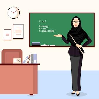 Schöner moslemlehrer mit hijabillustration