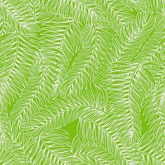 Schöner nahtloser grüner hintergrund des sommers mit palmblättern