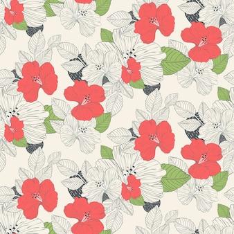 Schöner nahtloser hintergrund der hibiskusblumen
