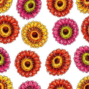 Schöner nahtloser hintergrund mit blühenden gerbera. handgezeichnete illustration