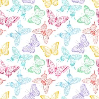 Schöner nahtloser hintergrund von mehrfarbigen schmetterlingen der skizze. handgezeichnete illustration