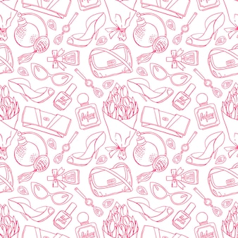 Schöner nahtloser hintergrund von weiblichen dingen der skizze - ein strauß tulpen, parfüm und nagellack. handgezeichnete illustration