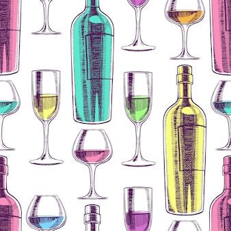 Schöner nahtloser hintergrund von weinflaschen und gläsern. handgezeichnete illustration