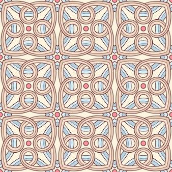 Schöner nahtloser retro-hintergrund mit blauem beigem und braunem abstraktem muster und rosa kreisen