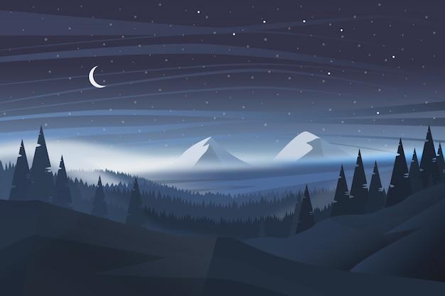 Schöner natürlicher nachtlandschaftshintergrund