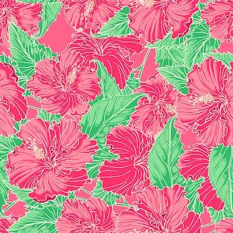 Schöner natürlicher nahtloser hintergrund mit rosa hibiskus